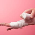 Wrist bandage (color toned image; shallow DOF)